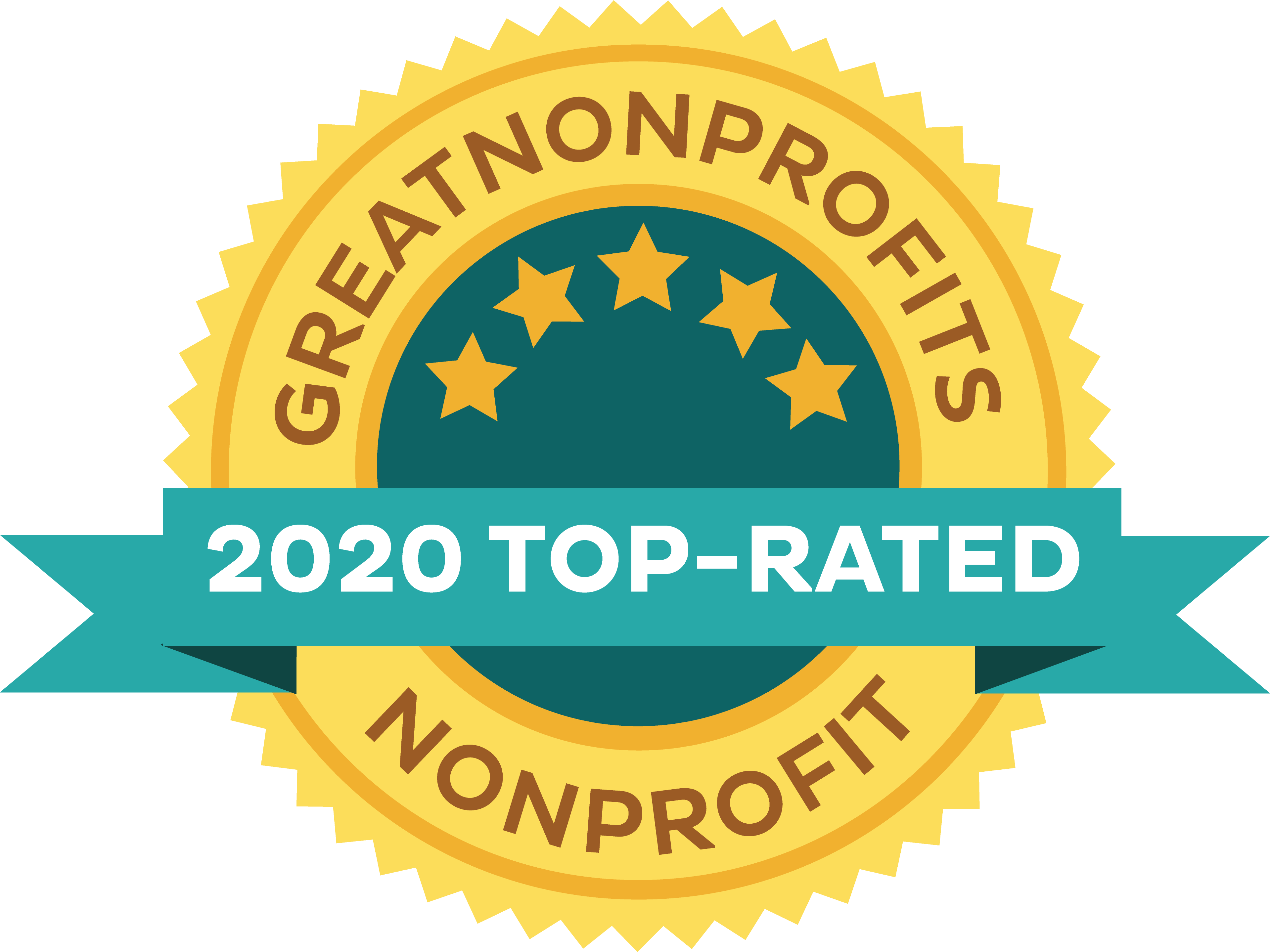 Badge reading Greatnonprofits 2020 top rated nonprofit