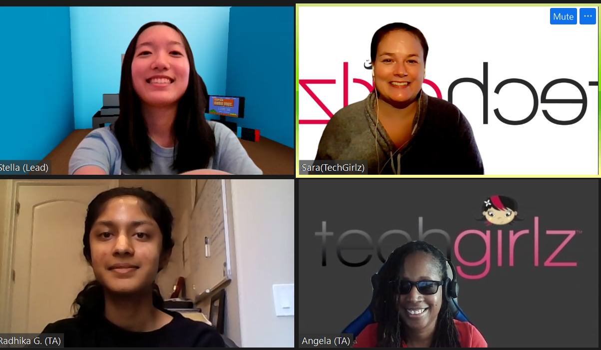 Screenshot of 4 young women smiling during a Zoom call